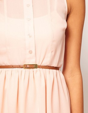 Image 3 ofASOS PETITE Exclusive Shirt Dress With Belt