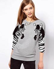 ASOS Sweatshirt with Fringed Zebra Sleeve