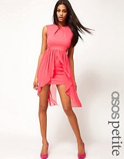 ASOS PETITE Exclusive Cut Out Bodycon Dress With Chiffon Skirt