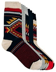 River Island 5 Pack Tribal Socks