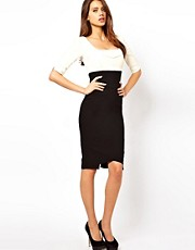 Hybrid Pencil Dress In Two Tone