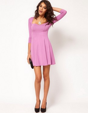 Image 4 ofASOS Skater Dress With Sweetheart Neck