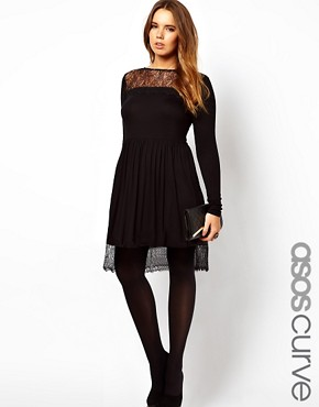 Image 1 ofASOS CURVE Skater Dress With Lace Hem