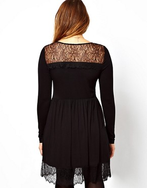 Image 2 ofASOS CURVE Skater Dress With Lace Hem
