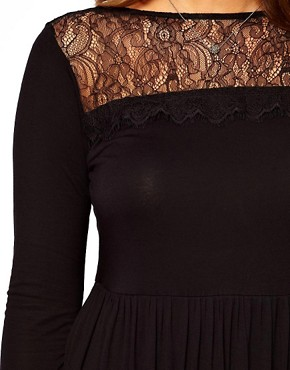 Image 3 ofASOS CURVE Skater Dress With Lace Hem