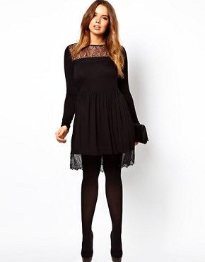 Image 4 ofASOS CURVE Skater Dress With Lace Hem