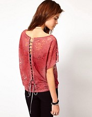 Diesel Lace T-Shirt With Laced Back