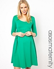 ASOS Maternity Skater Dress with Scoop Neck &amp; 3/4 Sleeves