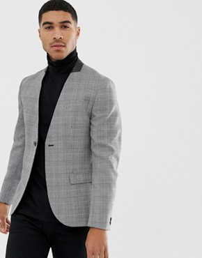 Religion Skinny Collarless Blazer In Prince of Wales Check