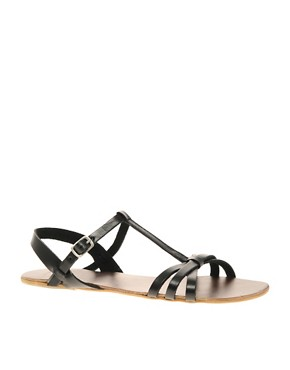 Image 1 ofASOS FLOSSY Leather Sandals with T-Bar