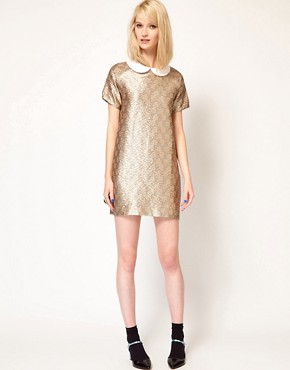 Image 4 ofPaul and Joe Sister Shift Dress in Metallic Jacquard with Collar