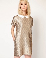 Paul and Joe Sister Shift Dress in Metallic Jacquard with Collar