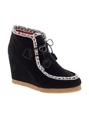 F-Troupe Wedge Black Ankle Boots