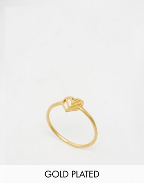 Dogeared Gold Plated Love in the Moment Chevron Heart Ring