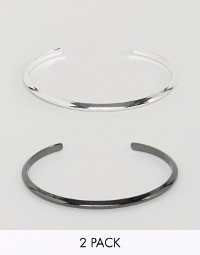 ASOS 2 Pack Bangles In Silver And Gunmetal