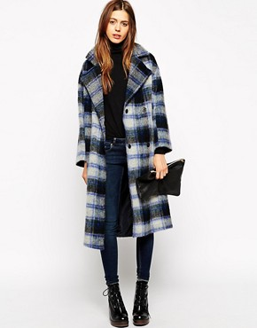 Image 1 of ASOS Coat With Raw Edge In Check