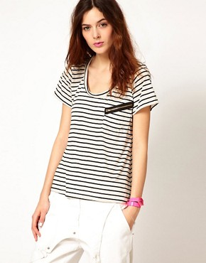 Image 1 ofLnA Stripe Zipper T-Shirts