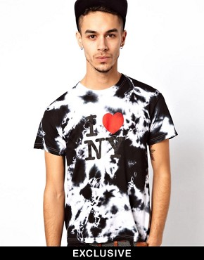 Image 2 ofReclaimed Vintage T-Shirt with I Heart NY Tie-Dye Print