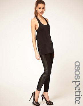 Image 1 ofASOS PETITE Leggings With PU Panel