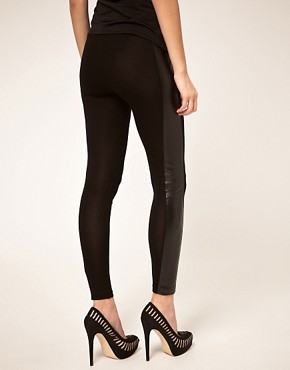 Image 2 ofASOS PETITE Leggings With PU Panel