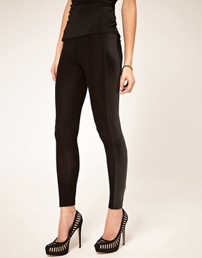 Image 4 ofASOS PETITE Leggings With PU Panel