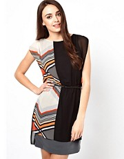 Warehouse Blocked Stripe Tunic Dress