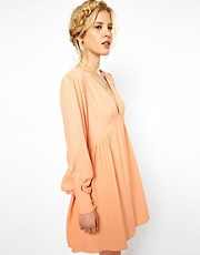 ASOS Smock Dress With V Neck And Sleeve Detail