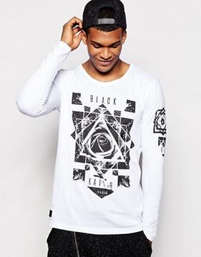 Black Kaviar Longline Long Sleeve T-Shirt With Rose Print