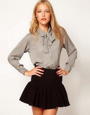 Image 1 ofASOS Blouse With Skinny Tie Detail