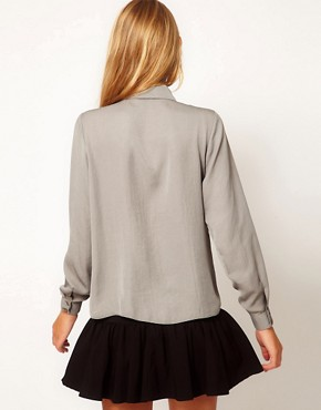 Image 2 ofASOS Blouse With Skinny Tie Detail