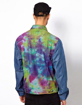 Image 2 ofReclaimed Vintage Denim Jacket with Tie-Dye Body