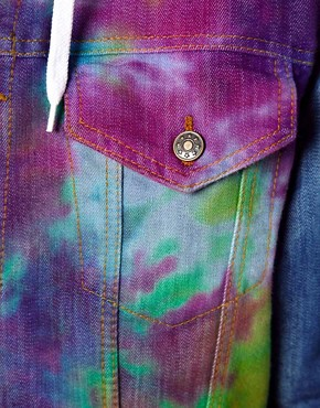 Image 3 ofReclaimed Vintage Denim Jacket with Tie-Dye Body