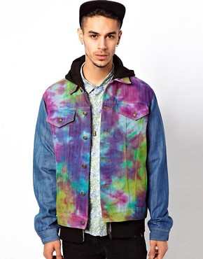 Image 1 ofReclaimed Vintage Denim Jacket with Tie-Dye Body
