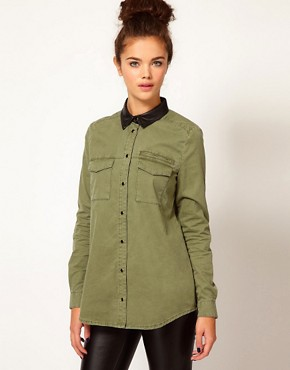 Image 1 ofRiver Island Oversized Denim Shirt With Leather Look Collar