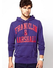 Franklin & Marshall Hoody with Cracked Logo Print