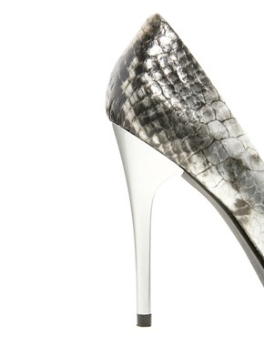 Image 2 ofFaith Heyam Metallic Snake Print Pointed Court Shoes