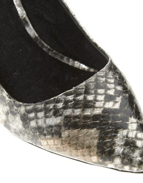 Image 3 ofFaith Heyam Metallic Snake Print Pointed Court Shoes