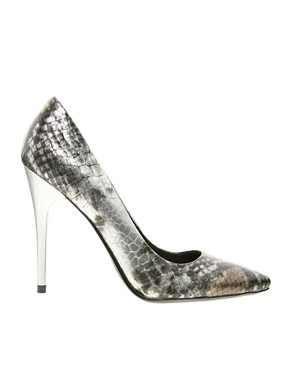 Image 4 ofFaith Heyam Metallic Snake Print Pointed Court Shoes