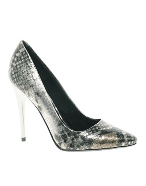 Image 1 ofFaith Heyam Metallic Snake Print Pointed Court Shoes