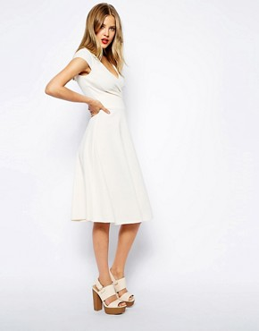 Image 1 of ASOS Midi Skater Dress With Full Skirt And Wrap Front in Ponte
