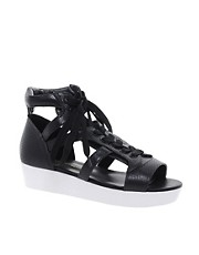 KG Moment Leather Black Lace Up Flatforms