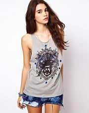 ASOS Vest with Baroque Cheetah and Eyelets