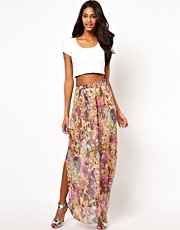 Oh My Love Maxi Skirt in Tall Flowers Print