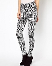 Dr Denim Plenty Zebra Printed High Waist Jeggings
