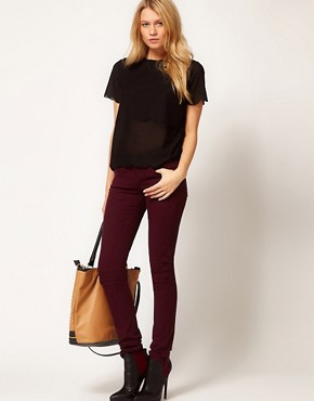 Image 4 ofASOS Skinny Jeans in Oxblood