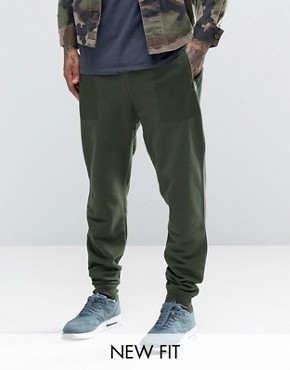 ASOS Tapered Joggers With Print Pocket In Khaki