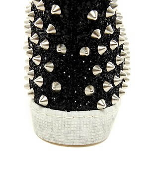 Image 2 ofGienchi Black Glitter High Top Trainers