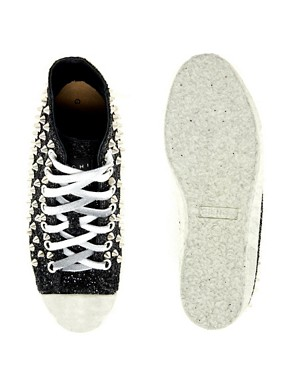 Image 3 ofGienchi Black Glitter High Top Trainers