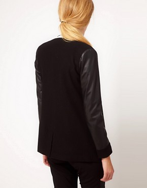 Image 2 ofASOS Blazer With Leather Look Sleeves