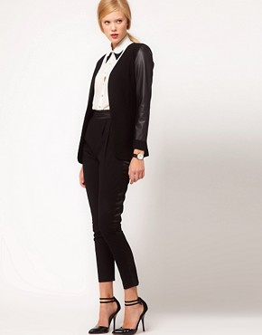 Image 4 ofASOS Blazer With Leather Look Sleeves